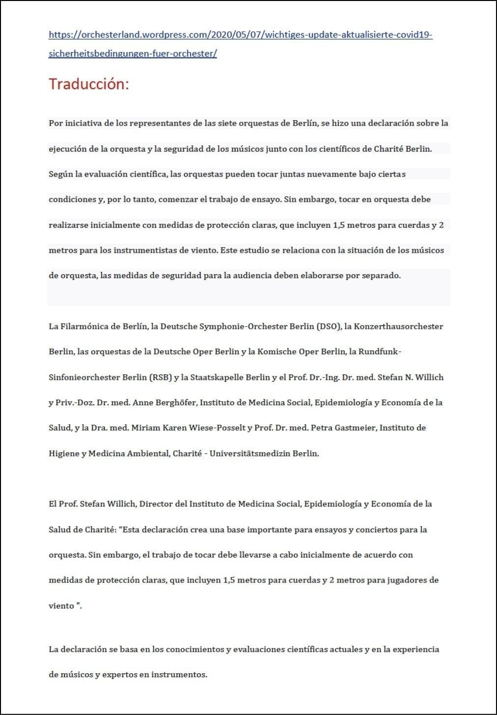 Orquestas y seguridad en la crisis del COVID19: declaración conjunta de siete orquestas de Berlín y el hospital universitario Charité Berlin